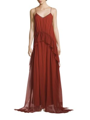 Elizabeth And James Catriona Sleeveless Silk Drawstring Ruffle Gown, Brick In Clay