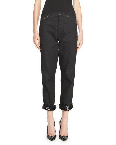 Saint Laurent Low-Waist Boyfriend Jeans With Sequined Cuff, Black