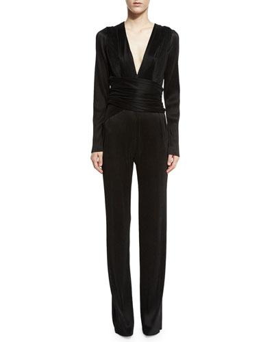 Galvan Pleated Wrap Long-Sleeve Jumpsuit In Antique Gray