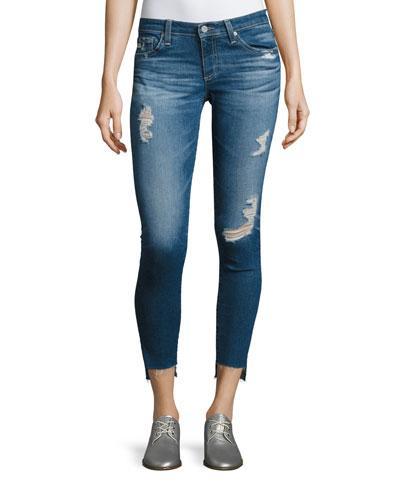Ag 14 Years Radiant Cropped Skinny Jeans With Step Hem, Indigo