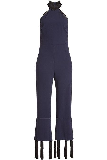 Galvan Woman Toro Cropped Tasseled Crepe Jumpsuit Midnight Blue