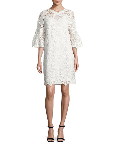 Kobi Halperin Lila Bell-Sleeve Lace Dress In White