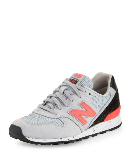 New Balance Embossed Leather Sneaker, Gray/Pink, Gray Medium
