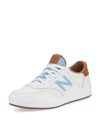 New Balance Leather Court Sneaker, White/Tan/Denim In White/Denim