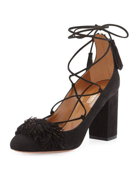 Aquazzura Wild Fringed Suede Lace-Up Block Heel Pumps In Black