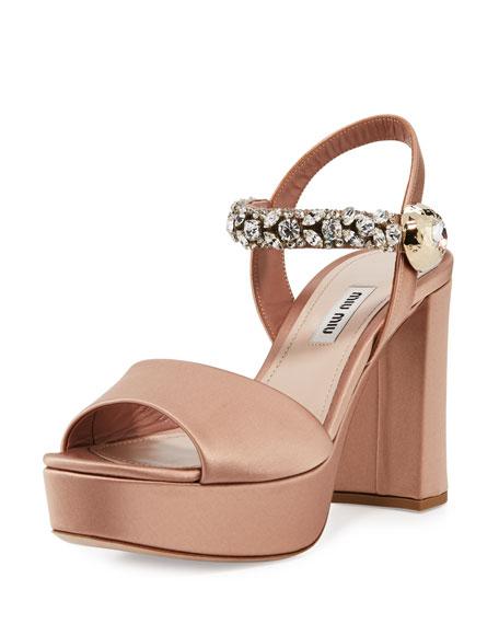 Miu Miu Crystal Satin Platform Sandal, Nudo