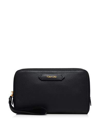 Tom Ford Medium Leather Cosmetics Bag, Black