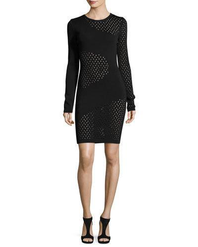 Mugler Long-Sleeve Mesh-Inset Dress, Cheeky Pin In Black