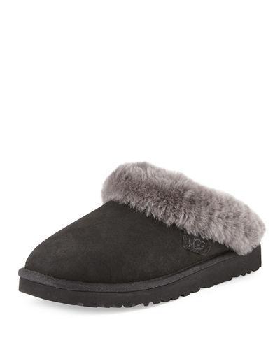 Ugg Clette Shearling Slide Slipper In Black