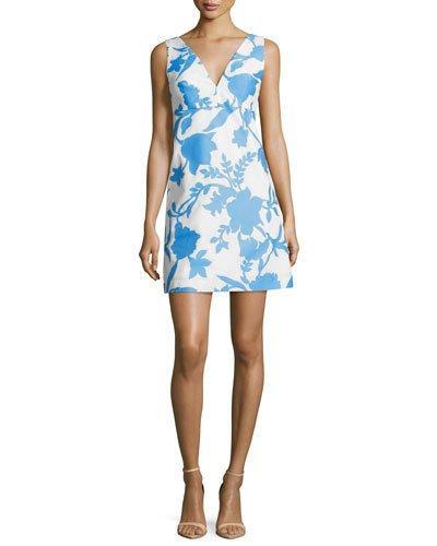 Milly Sleeveless Floral-Jacquard Minidress, Bright Blue