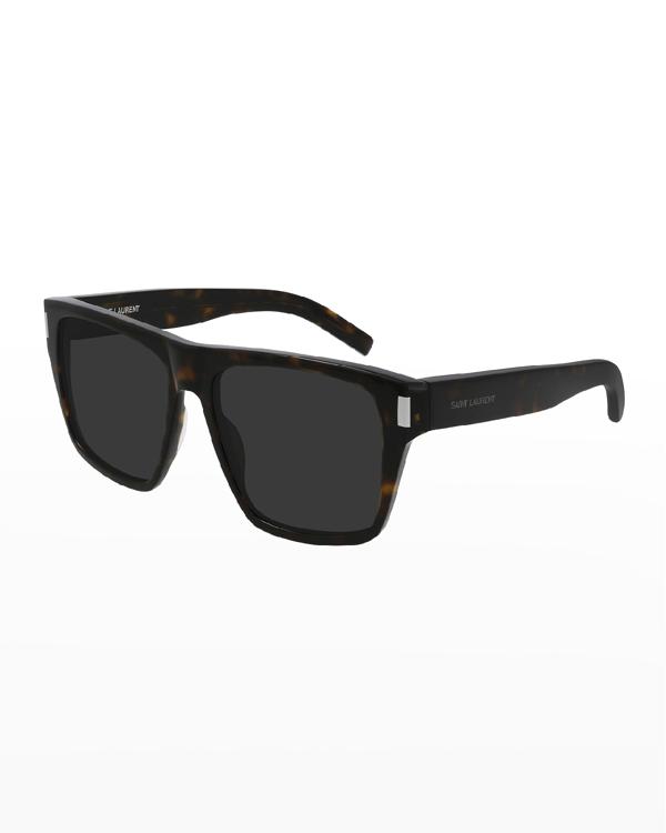 Saint Laurent Sl 424 Rectangle Acetate Sunglasses In 002 Avana