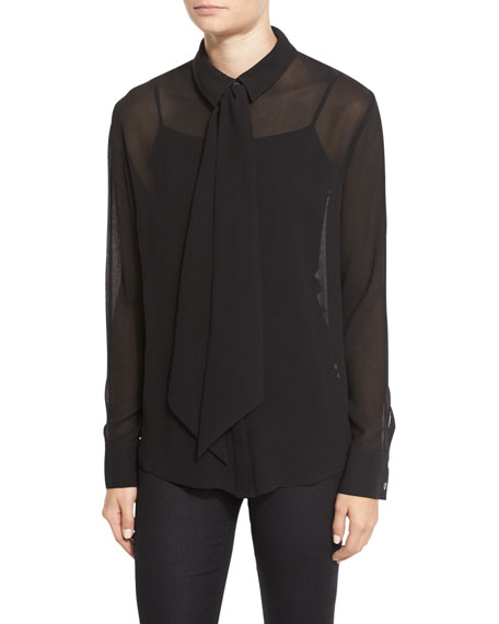 Frame Chiffon Tie Blouse, Noir In Black