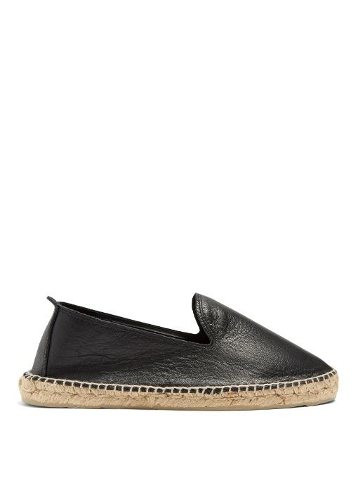 Manebi Canyon Leather Espadrilles In Black