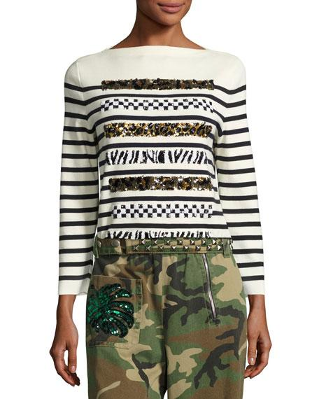 Marc Jacobs Woman Embellished Striped Cotton And Cashmere-Blend Sweater Ecru In Navy/Off White