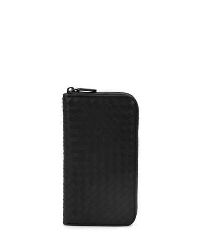 Bottega Veneta Woven Leather Extra Large Zip Wallet In Black