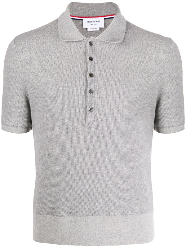 Thom Browne Cashmere Pique Polo Shirt In Grey