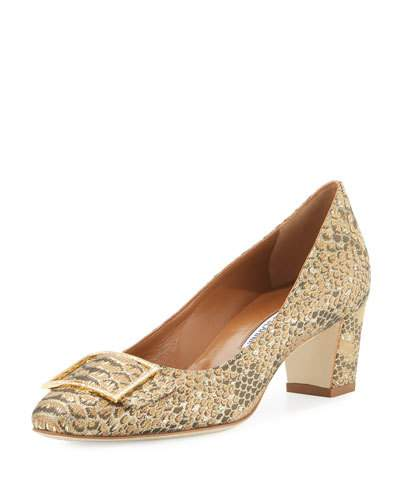 Manolo Blahnik Durango Snake-Brocade 50Mm Pump, Gold