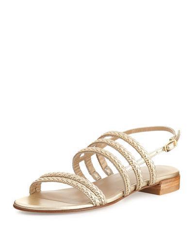 Stuart Weitzman Linedrive Braided Chain Sandal In Cava Nappa