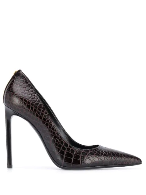 Tom Ford Crocodile-effect Pumps In Brown