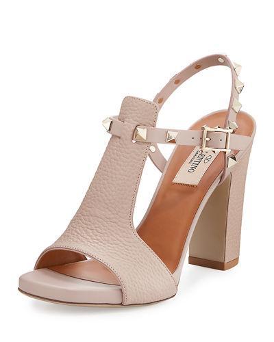 Valentino Rockstud T-Strap 90Mm Sandal, Poudre