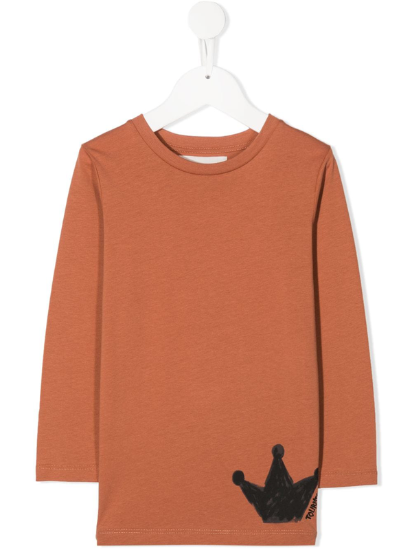 Touriste Kids' Embroidered Long-sleeve Top In Neutrals