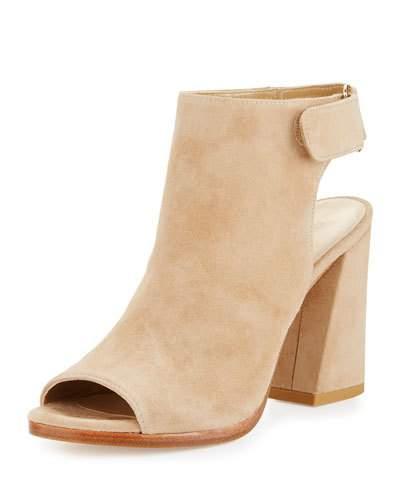 Stuart Weitzman Frontroom Suede Chunky-Heel Sandal, Mojave In Brown