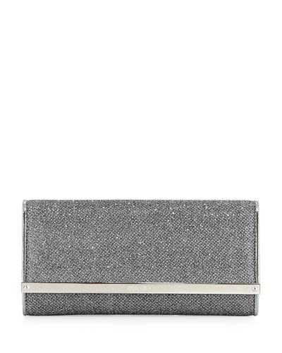 Jimmy Choo Milla Large Glitter Clutch Bag In Gray