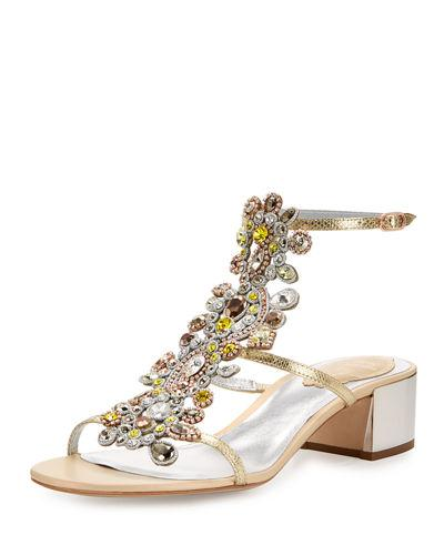 RenÉ Caovilla Jeweled Snakeskin T-Strap Sandal In Gold