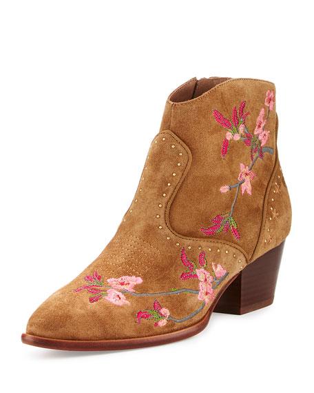 Ash Heidi Embroidered Western Bootie, Russet In Medium Brown