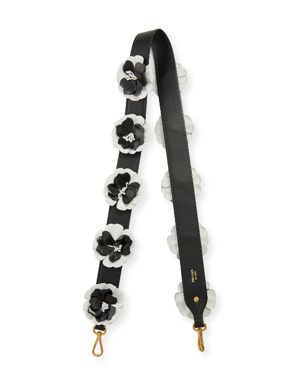 Prada Flower Leather Strap For Handbag In Black/White