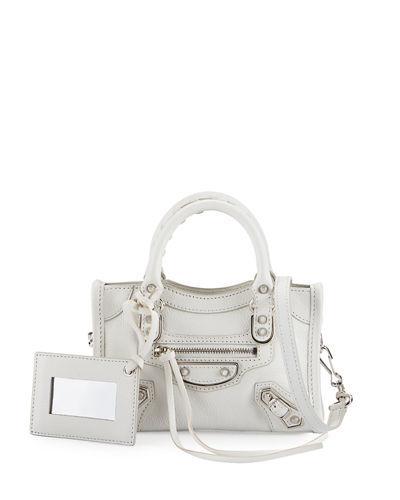 Balenciaga Classic Metallic Edge Nano City Aj Crossbody Bag In White