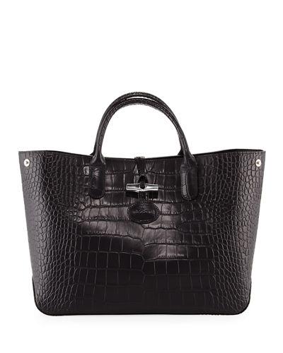 Longchamp Roseau Croco Medium Tote Bag In Black