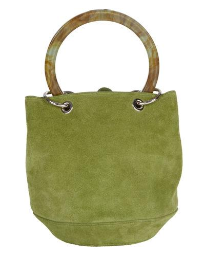 Edie Parker Olivia Small Suede Bucket Bag In Green