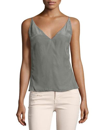 J Brand Lucy Matte Silk Camisole Top In Black