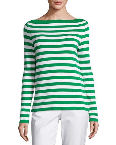 Michael Kors Striped Cotton-Jersey Top In Green Pattern