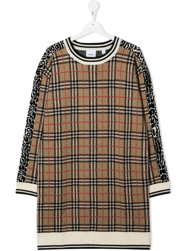 Burberry Kids' Beige Dress For Girl With Animalier Prints In Neutrals