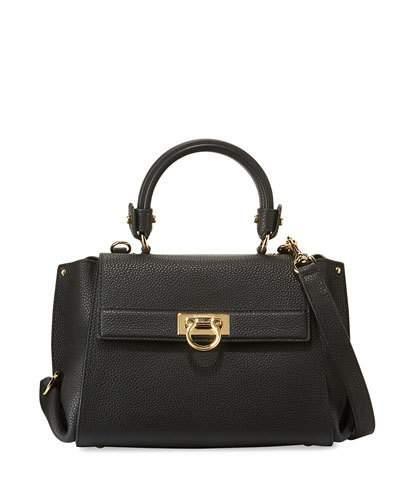 Salvatore Ferragamo Sofia Small Leather Satchel Bag, Nero