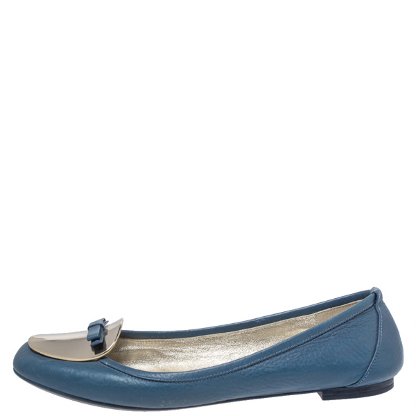 Pre-owned Dolce & Gabbana Dolce And Gabbana Blue Leather Gold Plaque Bow Detail Ballet Flats Size 39