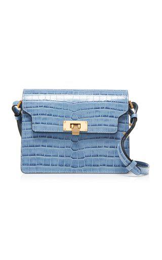 Marge Sherwood Vintage Brick Croc-effect Leather Shoulder Bag In Blue