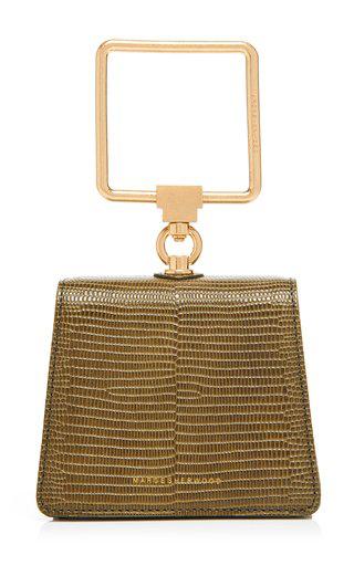 Marge Sherwood Mini Pump Lizard-effect Leather Top Handle Bag In Green