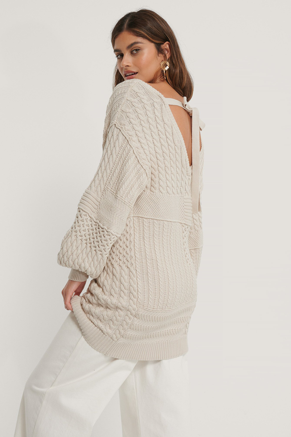 Na-kd Reborn Organic Cable Knitted Deep Back Long Sweater Beige In Light Beige