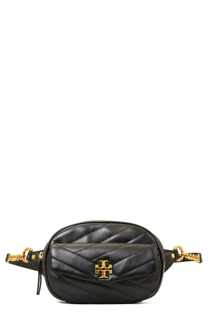 Tory Burch Kira Chevron Quilted Leather Belt Bag In Black