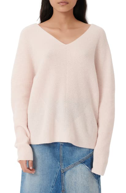 Maje Madina Ribbed Cashmere V-neck Sweater In Pale Pink