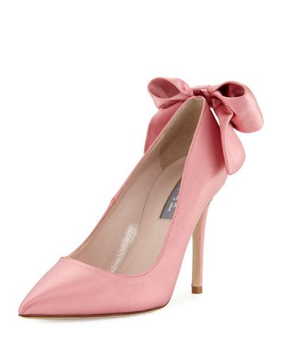 Sjp By Sarah Jessica Parker Lucille Satin Bow Pump In Blush