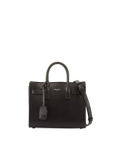 Saint Laurent Sac De Jour Nano Bonded Calf Tote Bag, Black