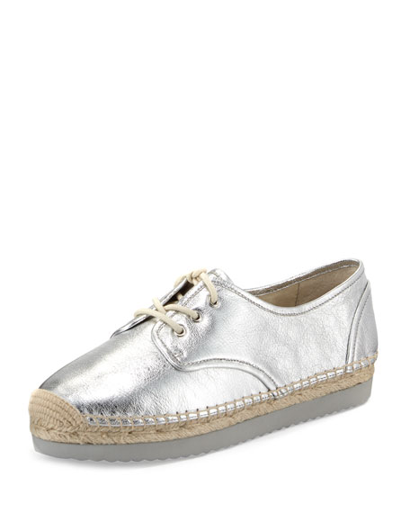 Michael Michael Kors Hastings Lace-Up Espadrille Flat, Silver