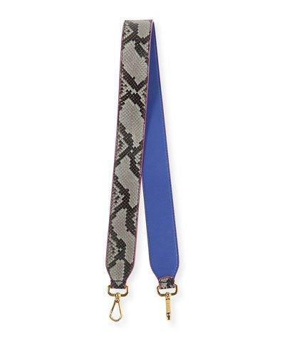 Fendi Stap You Python Shoulder Strap For Handbag, Roccia/Blue In Blue/Gray