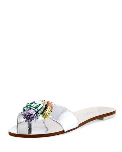 Sophia Webster 'Jada' Tassel Mirror Leather Slide Sandals In Silver