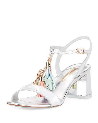 Sophia Webster Juno Tassel-Embellished Leather Sandals In Silver