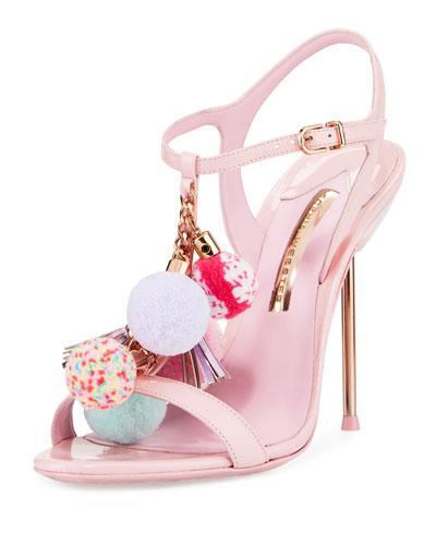 Sophia Webster Layla Pompom 100Mm Sandal, Silver In Pink